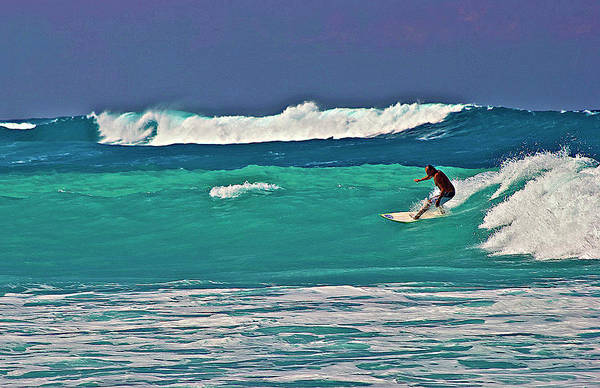 Surfing At Anaeho'omalu Bay 2 Art Print
