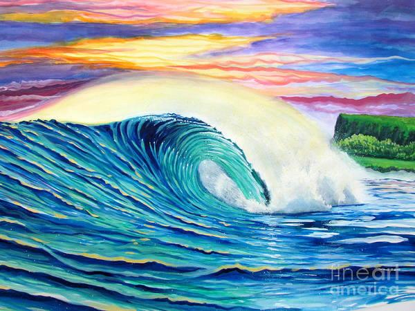 Guache Painting - Surfing At Ocean by Gabriel Picillo