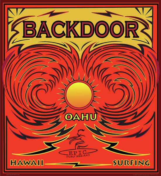 Surfing Backdoor Oahu Hawaii Art Print