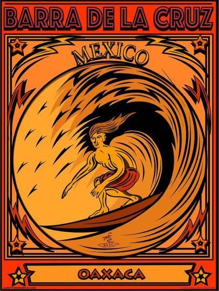 Wall Art - Digital Art - Surfing Barra De La Cruz Mexico by Larry Butterworth