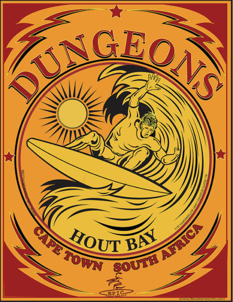 Wall Art - Digital Art - Surfing Dungeons Cape Town South Africa by Larry Butterworth