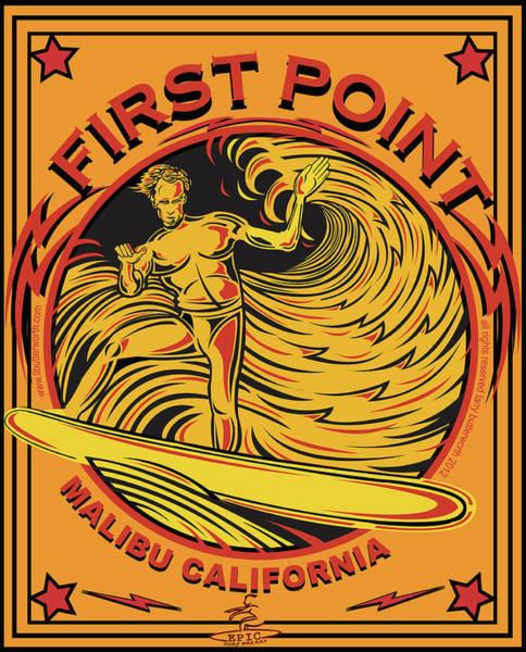 Wall Art - Digital Art - Surfing First Point Malibu California by Larry Butterworth