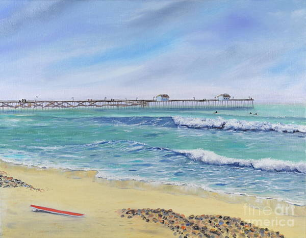 Painting - Surfing In San Clemente by Mary Scott