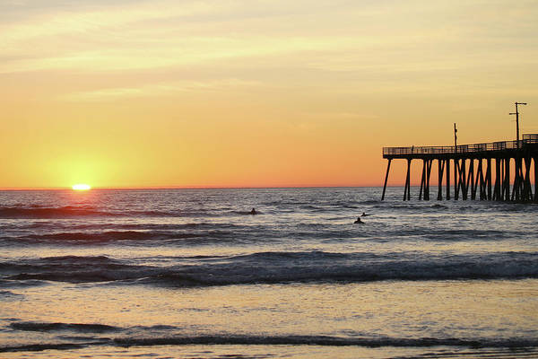 Under The Pier Photograph - Surfing In The Setting Sun by Art Block Collections