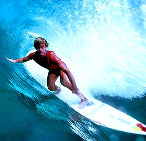 Riffle Digital Art - Surfing Legends 11 by Keith Kos