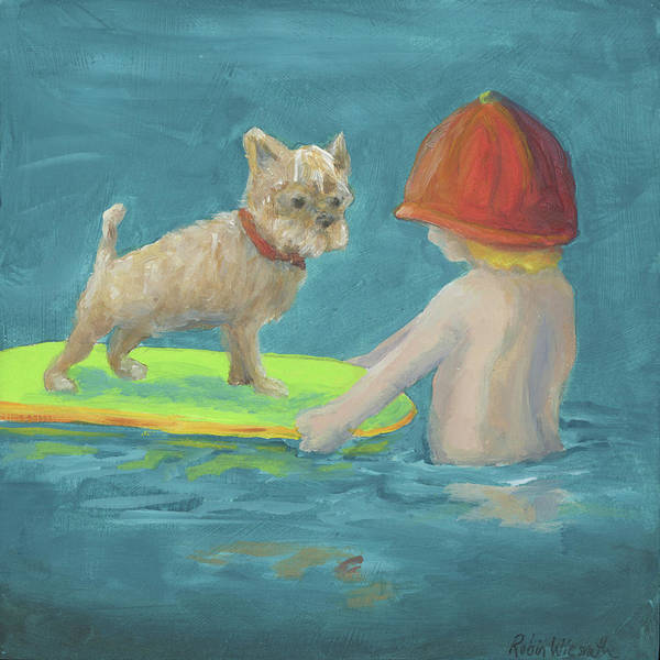 Wall Art - Painting - Surfing Lessons by Robin Wiesneth