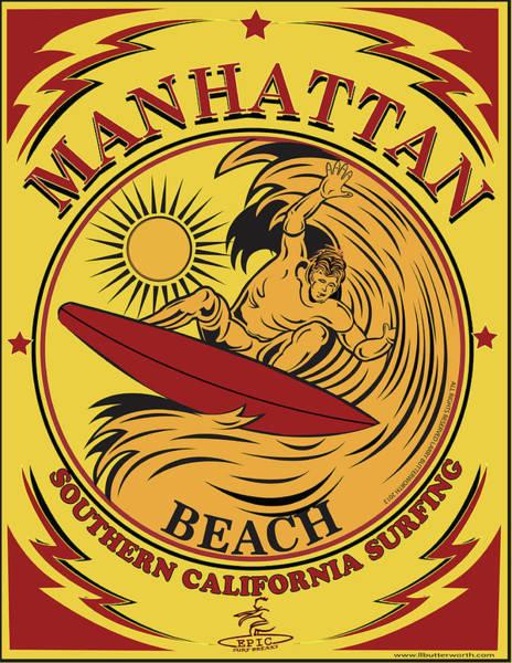 Wall Art - Digital Art - Surfing Manhattan Beach California by Larry Butterworth