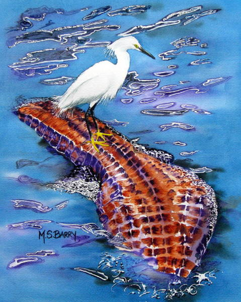Gators Wall Art - Painting - Surfing The Gator by Maria Barry