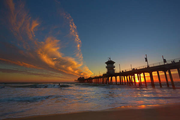Huntington Beach Pier Photograph - Surfing The Sunset by Brian Knott Photography