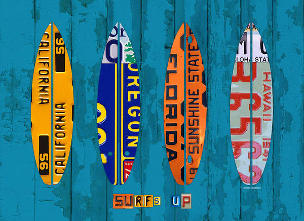 Beach House Mixed Media - Surfs Up Surf Board Beach Ocean Decor Recycled Vintage License Plate Art by Design Turnpike
