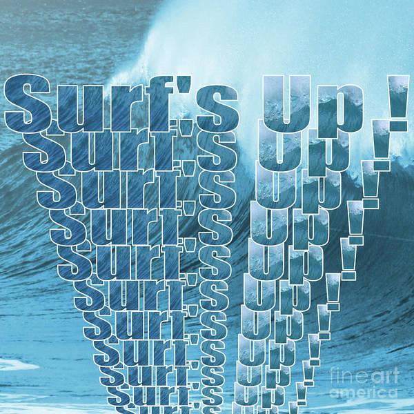 Digital Art - Surf's Up Wave by Barefoot Bodeez Art