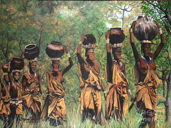 Painting - Blaa Kattproduksjoner        Surma Women Of Africa by Sigrid Tune