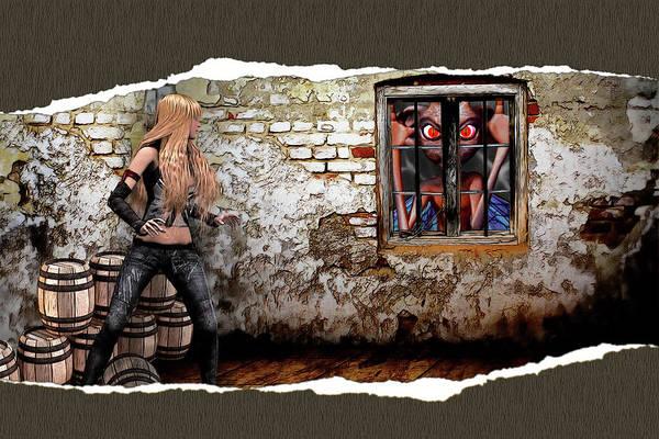 Cellar Digital Art - Surprise At The Window by John Haldane
