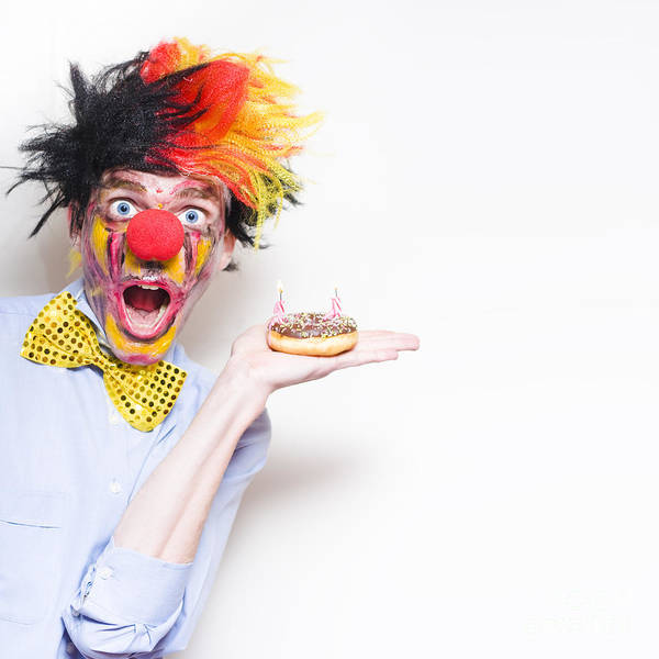Photograph - Surprise Happy Birthday Clown Holding Party Cake by Jorgo Photography - Wall Art Gallery