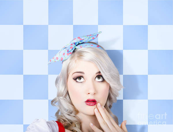 Pinup Photograph - Surprised Face Of A Young Cosmetic Pinup Woman by Jorgo Photography - Wall Art Gallery