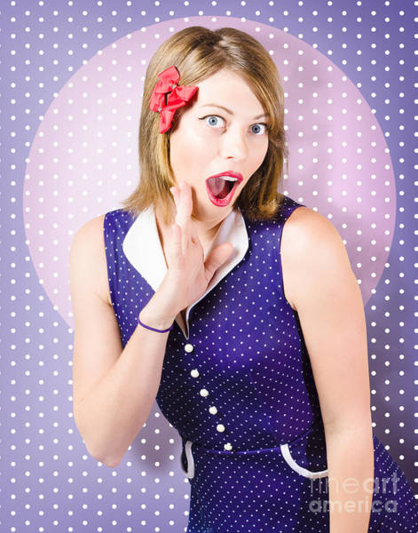 Photograph - Surprised Pin-up Woman In Purple Polka Dot Dress by Jorgo Photography - Wall Art Gallery