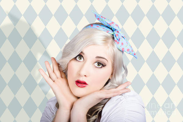 Photograph - Surprised Pin Up Woman With Perfect Makeup by Jorgo Photography - Wall Art Gallery