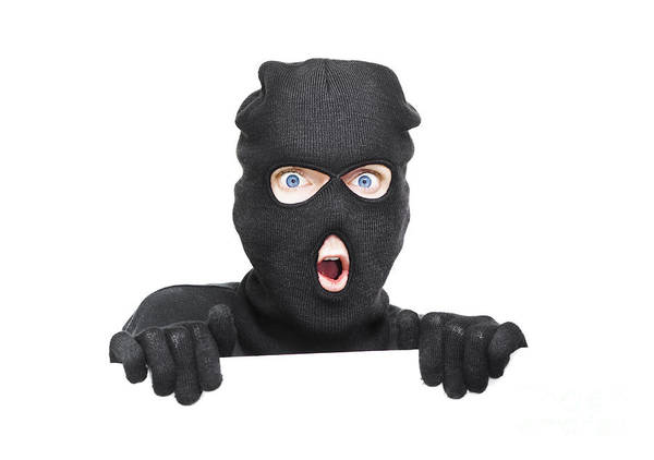 Fraud Photograph - Surprised Robber Holding Blank Security Sign by Jorgo Photography - Wall Art Gallery