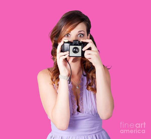 Snapping Wall Art - Photograph - Surprised Woman Taking Picture With Old Camera by Jorgo Photography - Wall Art Gallery