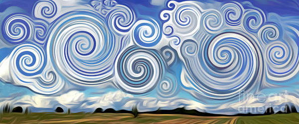 Digital Art - Surreal Cloud Blue by Lisa Arbitrary