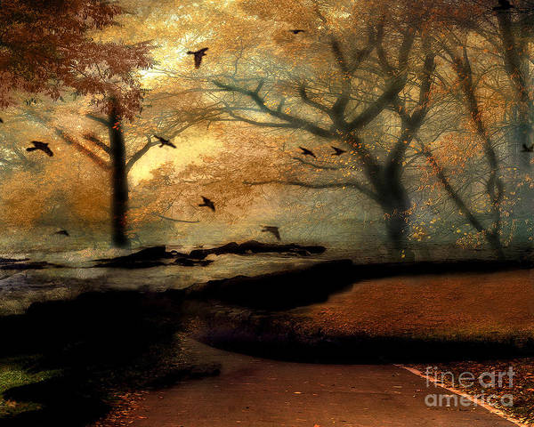 Bird In Tree Photograph - Surreal Fantasy Haunting Autumn Trees Ravens by Kathy Fornal
