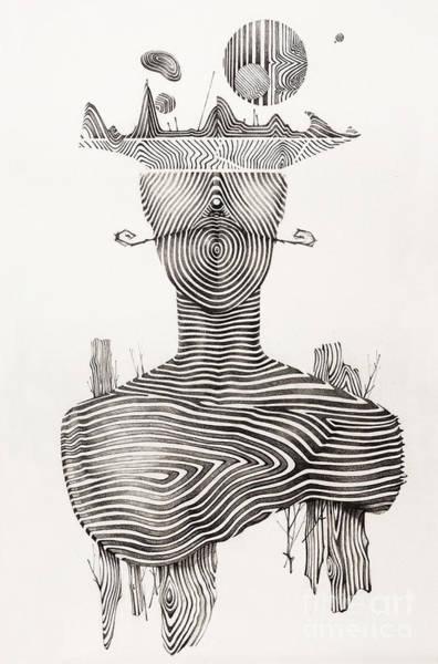 Drawing Wall Art - Drawing - Surreal Hand Drawing, Portrait Decorative Artwork  - Cebanenco Stanislav by Cebanenco Stanislav