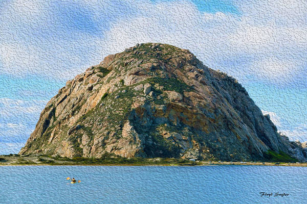Morro Bay Painting - Surreal Rock At Morro Bay by Floyd Snyder