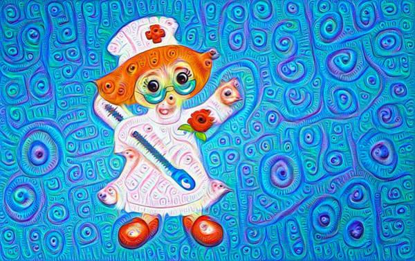Digital Art - Surreal Trippy Nurse Deep Dream Picture by Matthias Hauser