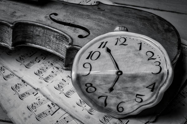 Frets Photograph - Surreal Watch On Old Violin by Garry Gay
