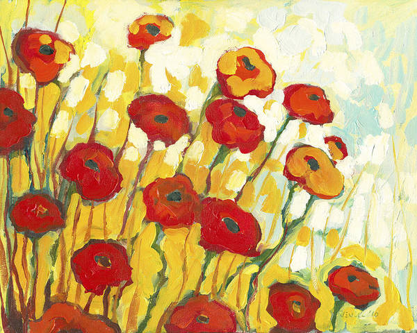 Red Poppies Wall Art - Painting - Surrounded In Gold by Jennifer Lommers
