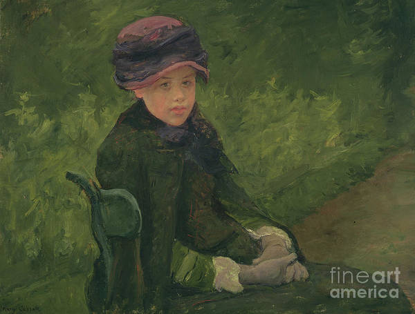 Wall Art - Painting - Susan Seated Outdoors Wearing A Purple Hat by Mary Stevenson Cassatt