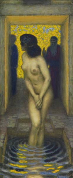 Franz Von Stuck Painting - Susanna In The Bath by Franz von Stuck