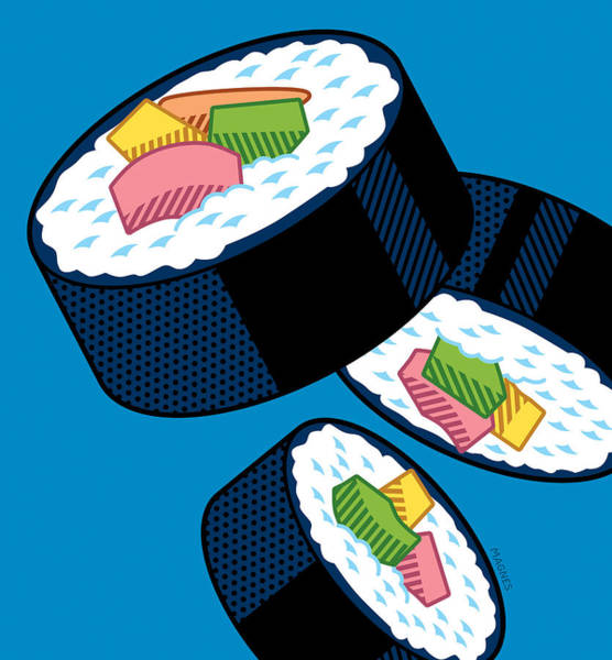 Japanese Art Digital Art - Sushi On Blue by Ron Magnes
