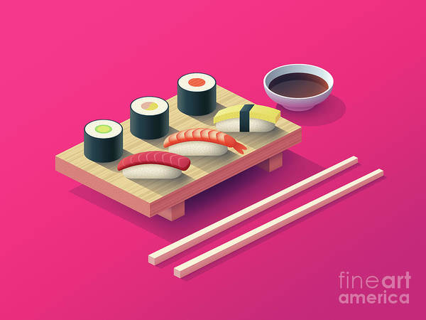 Japan Wall Art - Digital Art - Sushi Set Isometric - Magenta by Ivan Krpan