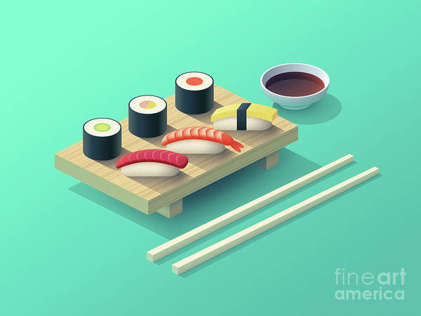 Asian Digital Art - Sushi Set Isometric - Teal by Ivan Krpan