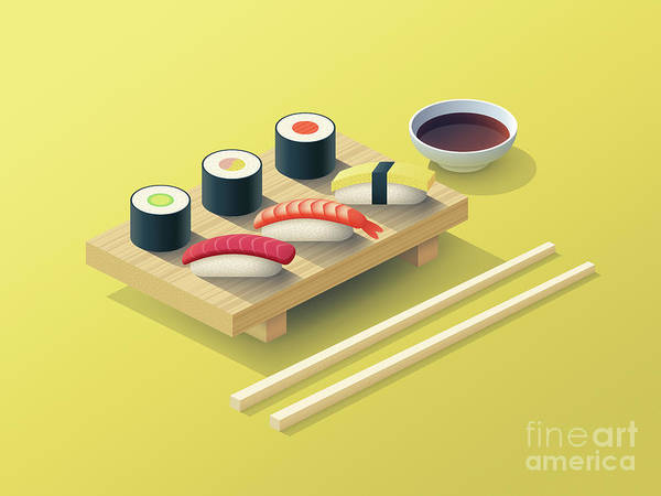Asian Digital Art - Sushi Set Isometric - Yellow by Ivan Krpan