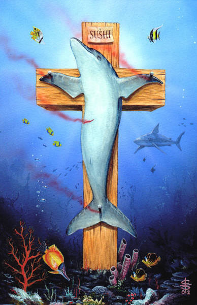 Dolphins Wall Art - Painting - Sushi by Victor Whitmill