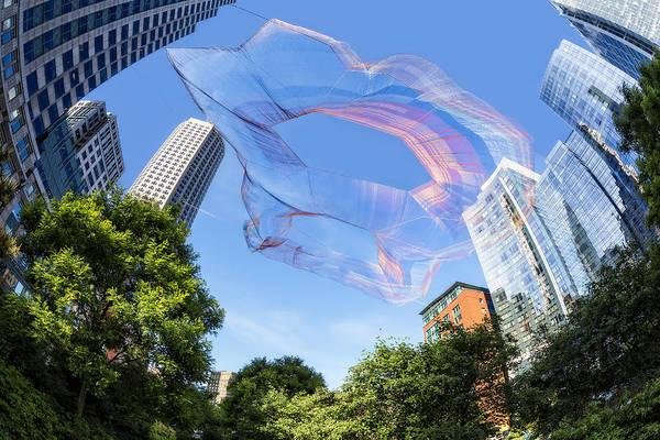 Wall Art - Photograph - Suspended Colorful Fibers Over Boston by Susan Candelario