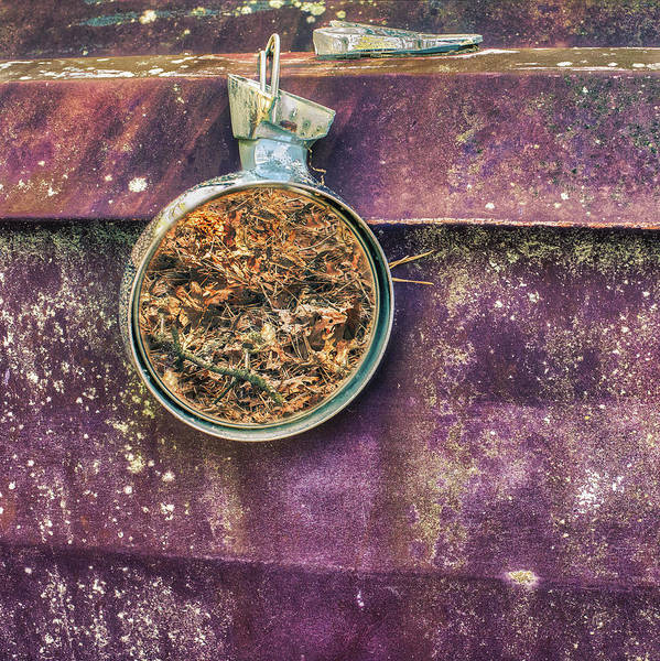 Photograph - Suspended Mirror On Rusting Automobile by Gary Slawsky