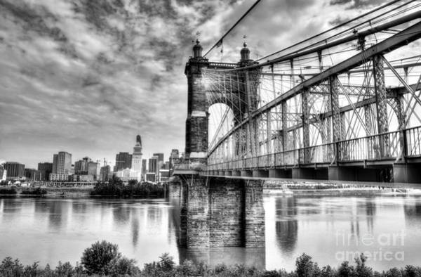 Photograph - Suspension Bridge At Cincinnati Bw by Mel Steinhauer