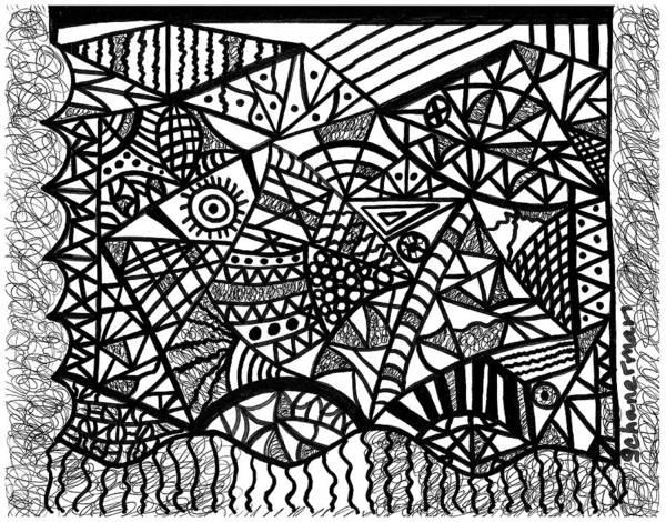Drawing - Suspicious Experience by Susan Schanerman