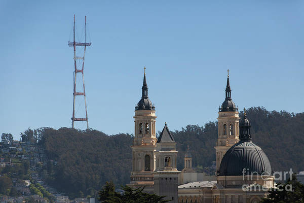Photograph - Sutro Tower And St Ignatius Church San Francisco California 5d3268 by San Francisco Art and Photography