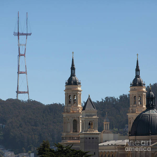 Photograph - Sutro Tower And St Ignatius Church San Francisco California 5d3268 Square by Wingsdomain Art and Photography
