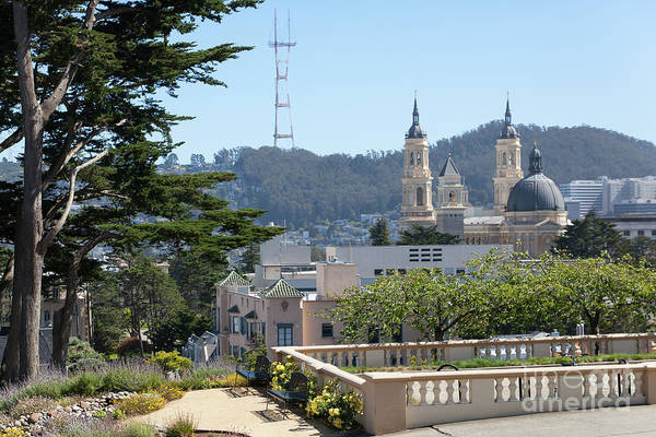 Photograph - Sutro Tower And St Ignatius Church San Francisco California 5d3278 by San Francisco Art and Photography