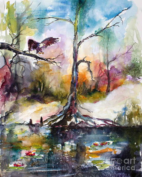 Painting - Suwanee River Black Water Eagle Landing by Ginette Callaway
