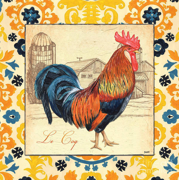 Barnyard Animal Painting - Suzani Rooster 2 by Debbie DeWitt
