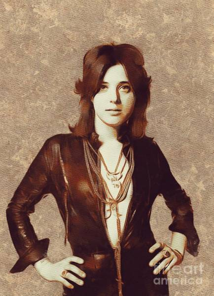 Wall Art - Painting - Suzi Quatro, Music Legend by Mary Bassett
