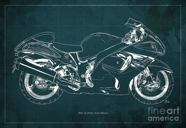 Wall Art - Painting - Suzuki Hayabusa 2012 Blueprint by Drawspots Illustrations