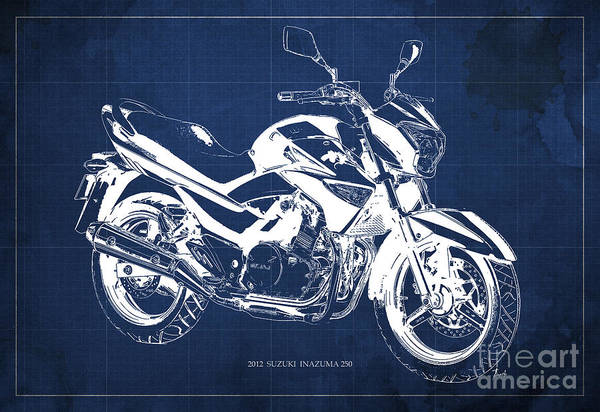 Wall Art - Digital Art - Suzuki Inazuma 250 2012 Blueprint Original Art Print by Drawspots Illustrations