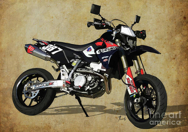 Wall Art - Digital Art - Suzuki Race Motorcycle. 387. by Drawspots Illustrations